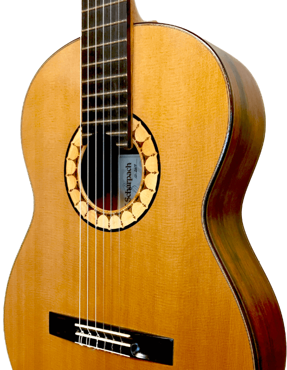 Concentura classical guitar, built by Theo Scharpach